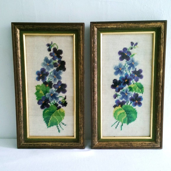 Pair of Framed Floral Needlepoint Cottage Decor